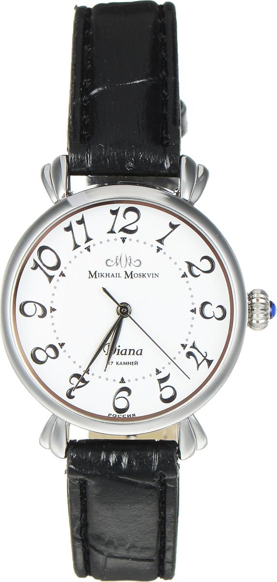 Часы наручные женские Mikhail Moskvin Диана, цвет: серебристый, черный. 594-1-1BM8434-58AEЭлегантные часы Mikhail Moskvin Диана выполнены из металлического сплава с современным IPG покрытием из нержавеющей стали. Циферблат оформлен символикой бренда, а также надежно защищен устойчивым к царапинам минеральным стеклом.Механические часы с 17 рубиновыми камнями и противоударным устройством оси баланса дополнены ремешком из искусственной кожи с декоративным тиснением под кожу рептилии, который застегивается на практичную пряжку.Часы поставляются в фирменной упаковке.Часы Mikhail Moskvin Диана подчеркнут изящность женской руки и отменное чувство стиля у их обладательницы.