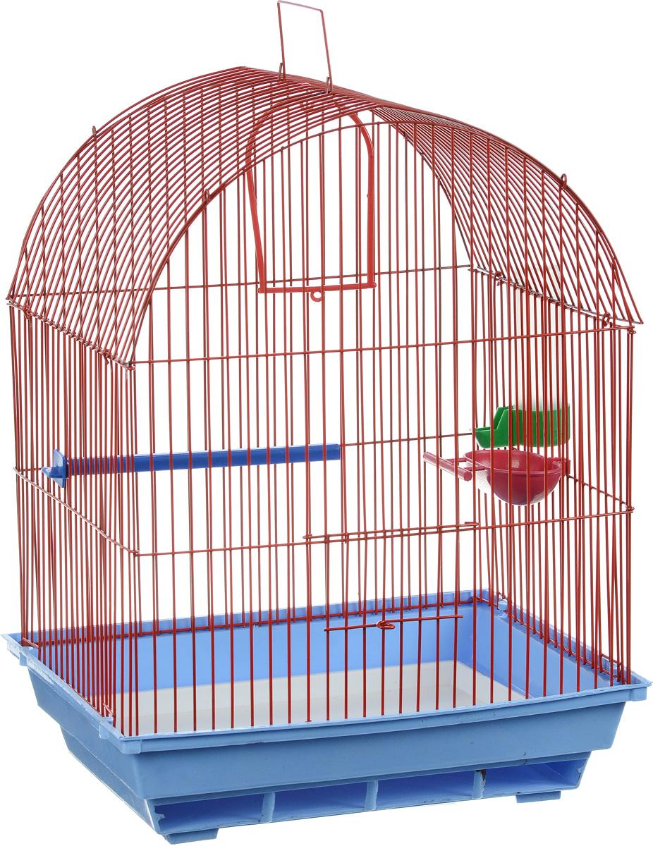 Клетка для птиц ЗооМарк, цвет: голубой поддон, красная решетка, 35 х 28 х 45 см0120710Клетка ЗооМарк, выполненная из полипропилена и металла, предназначена для мелких птиц. Вы можете поселить в нее одну или две птицы. Изделие состоит из большого поддона и решетки. Клетка снабжена металлической дверцей, которая открывается и закрывается движением вверх-вниз. В основании клетки находится малый поддон. Клетка удобна в использовании и легко чистится. Она оснащена жердочкой, кольцом для птицы, кормушкой, поилкой и подвижной ручкой для удобной переноски. Комплектация: - клетка с поддоном, - малый поддон; - кормушка; - поилка; - кольцо.