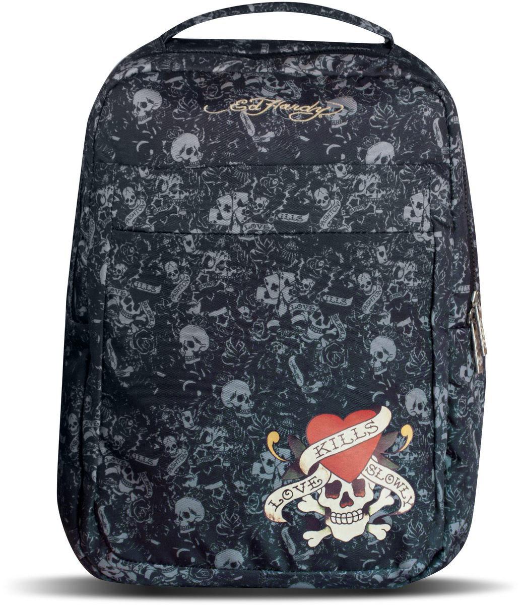 Ed Hardy Рюкзак детский цвет черный серый72523WDДетский рюкзак Ed Hardy - это красивый и удобный рюкзак, который подойдет всем, кто хочет разнообразить свои будни. Рюкзак выполнен из плотного материала и оформлен яркой аппликацией с черепом и сердцем. Рюкзак имеет одно основное вместительное отделения на молнии. Внутри отделения расположен мягкий карман на хлястике с липучкой, три открытых кармана и два фиксатора для канцелярских принадлежностей. На лицевой стороне расположен объемный накладной карман на молнии. Рюкзак также оснащен удобной и прочной ручкой для переноски. Широкие лямки можно регулировать по длине. Рюкзак снабжен светоотражающими вставками.Рюкзак снабжен светоотражающими вставками. Многофункциональный детский рюкзак станет незаменимым спутником вашего ребенка.