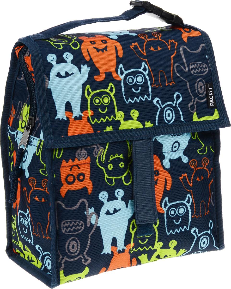 Сумка-холодильник Packit Lunch Bag, складная, цвет: темно-синий, оранжевый, голубой, 4,5 л. 0005475527Сумка-холодильник Packit Lunch Bag предназначена для транспортировки и хранения продуктов и напитков. Охлаждает продукты как холодильник. Сумка изготовлена из ПВХ, BPA-Free (без содержания бисфенол А), внутренняя поверхность - из специального термоизоляционного материала, который надежно удерживает холод внутри. Для удобной переноски сумка снабжена ручкой с пластиковой защелкой. Сумка-холодильник закрывается на застежку-молнию, клапаном и фиксируется липучками. Сохраняет температуру до 10 часов. Размер сумки (в разложенном виде): 21 х 13,5 х 24 см.Размер сумки (в сложенном виде): 21 х 6 х 13 см.
