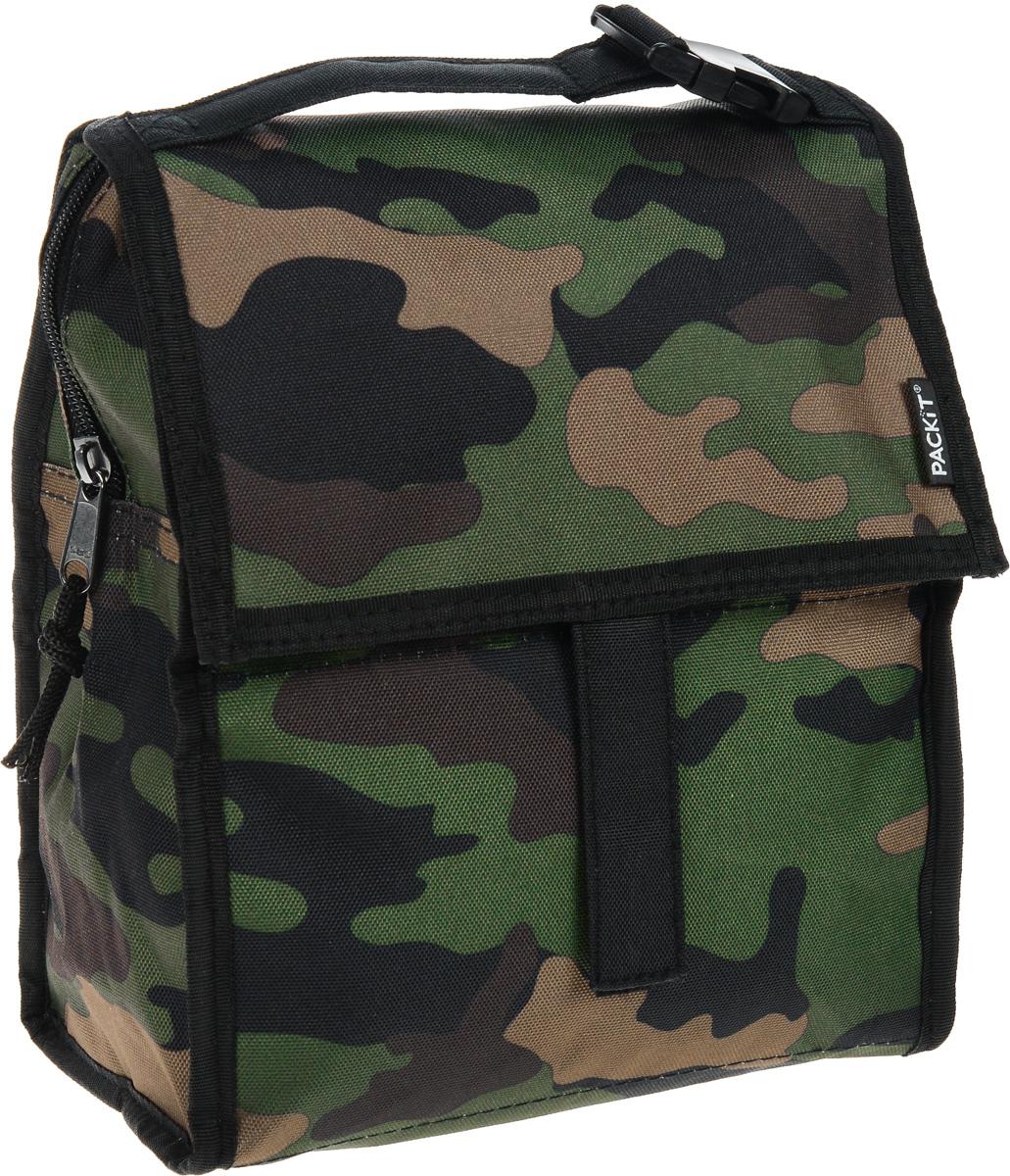 Сумка-холодильник Packit Lunch Bag, складная, цвет: хаки, 4,5 л. 0008Icon 10Сумка-холодильник Packit Lunch Bag предназначена для транспортировки и хранения продуктов и напитков. Охлаждает продукты как холодильник. Сумка изготовлена из ПВХ, BPA-Free (без содержания бисфенол А), внутренняя поверхность - из специального термоизоляционного материала, который надежно удерживает холод внутри. Для удобной переноски сумка снабжена ручкой с пластиковой защелкой. Сумка-холодильник закрывается на застежку-молнию, клапаном и фиксируется липучками. Сохраняет температуру до 10 часов. Размер сумки (в разложенном виде): 21 х 13,5 х 24 см.Размер сумки (в сложенном виде): 21 х 6 х 13 см.
