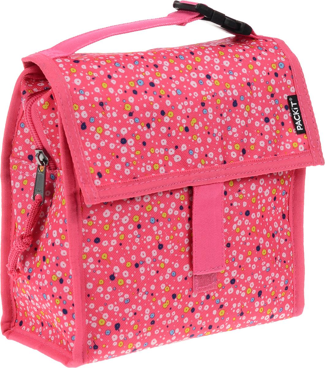 """Сумка-холодильник Packit """"Lunch Bag"""", складная, цвет: розовый, белый, синий, 2 л"""
