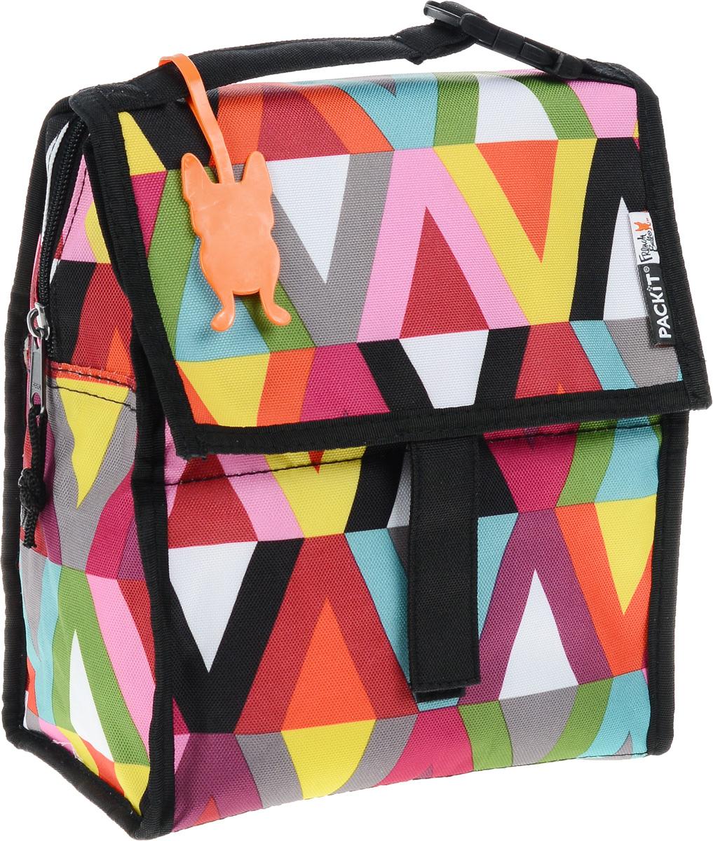 Сумка-холодильник Packit Lunch Bag, складная, цвет: черный, розовый, зеленый, 4,5 л. 00079103500790Сумка-холодильник Packit Lunch Bag предназначена для транспортировки и хранения продуктов и напитков. Охлаждает продукты как холодильник. Сумка изготовлена из ПВХ, BPA-Free (без содержания бисфенол А), внутренняя поверхность - из специального термоизоляционного материала, который надежно удерживает холод внутри. Для удобной переноски сумка снабжена ручкой с пластиковой защелкой. Сумка-холодильник закрывается на застежку-молнию, клапаном и фиксируется липучками. Сохраняет температуру до 10 часов. Размер сумки (в разложенном виде): 21 х 13,5 х 24 см.Размер сумки (в сложенном виде): 21 х 6 х 13 см.