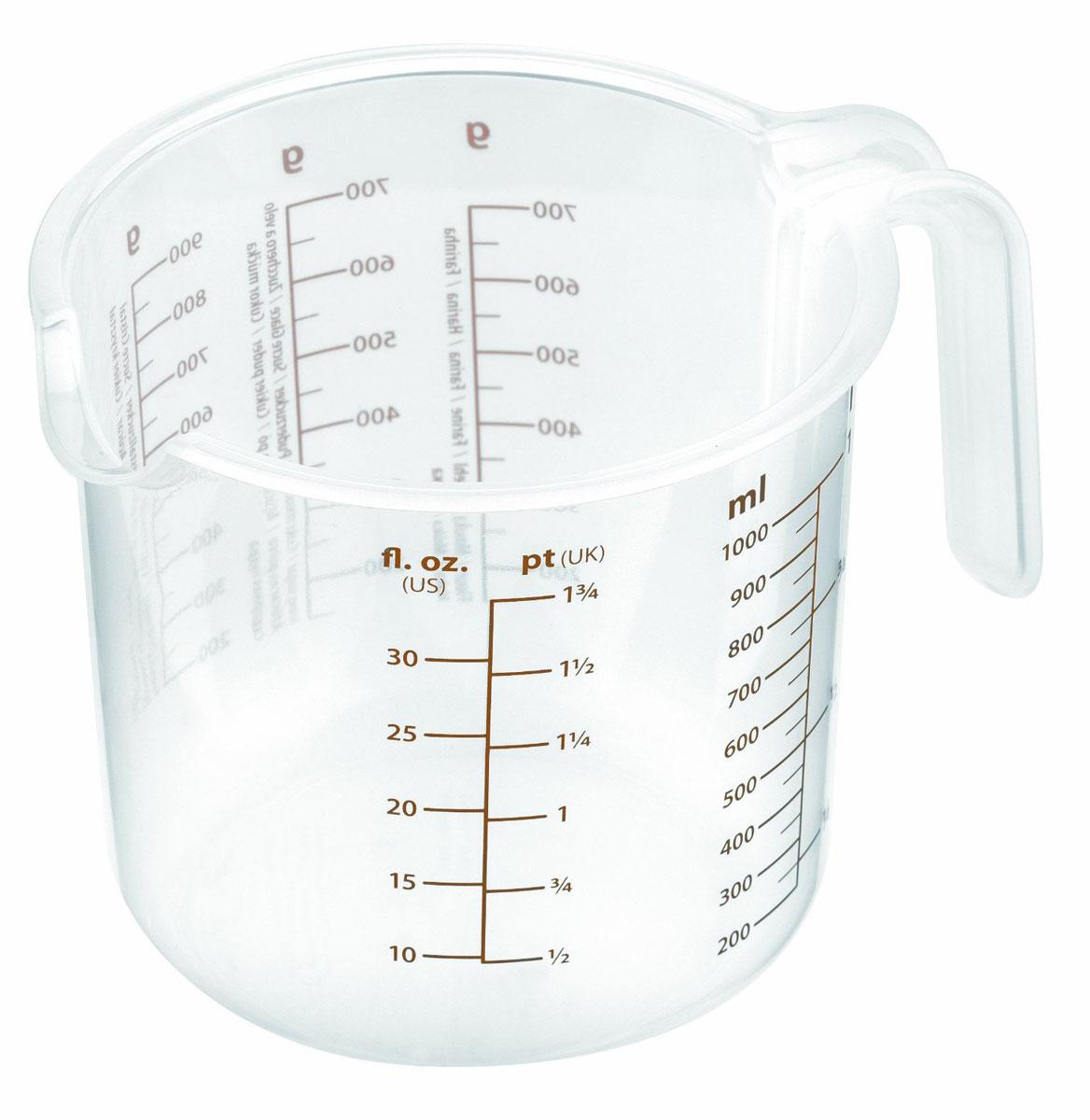 Емкость мерная Tescoma Delicia, 1 л54 009312Мерная емкость Tescoma Delicia выполнена из прозрачного пластика и оснащена удобной ручкой и носиком для слива жидкости. На стенке кружки имеются отдельные мерные шкалы.Такая емкость пригодится на каждой кухне, ведь зачастую приготовление некоторых блюд требует известной точности. Диаметр емкости (по верхнему краю): 12 см. Высота емкости: 12 см.