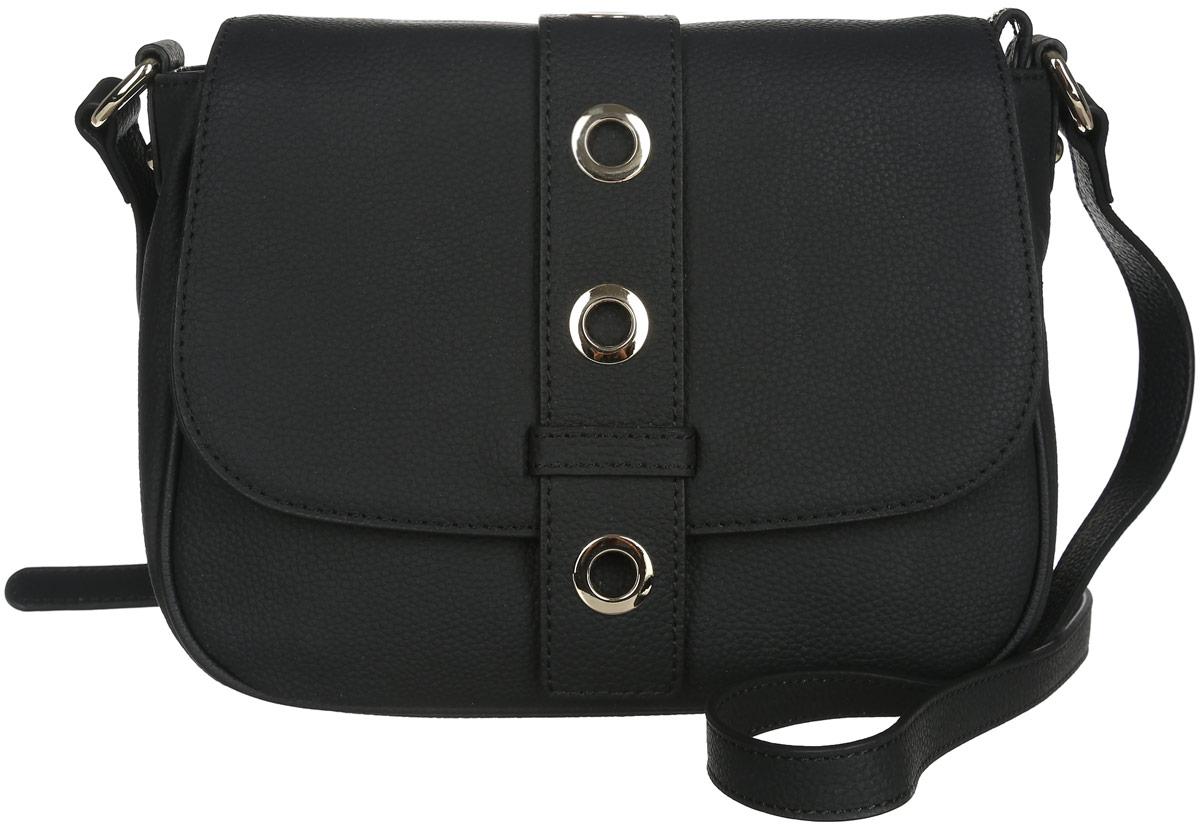 Сумка женская Fabretti, цвет: черный. N253871069с-2Стильная женская сумка Fabretti выполнена из натуральной кожи с фактурным тиснением.Изделие содержит одно вместительное отделение, которое закрывается клапаном на магнитную застежку и дополнительно на застежку-молнию. Внутри расположен один накладной кармашек для мелочей, карман-средник на застежке-молнии и один врезной карман на молнии. Снаружи, на задней стороне сумки, расположен врезной карман на застежке-молнии. Сумка оснащена удобным плечевым ремнем, который можно регулировать по длине.Оригинальный аксессуар позволит вам завершить образ и быть неотразимой.