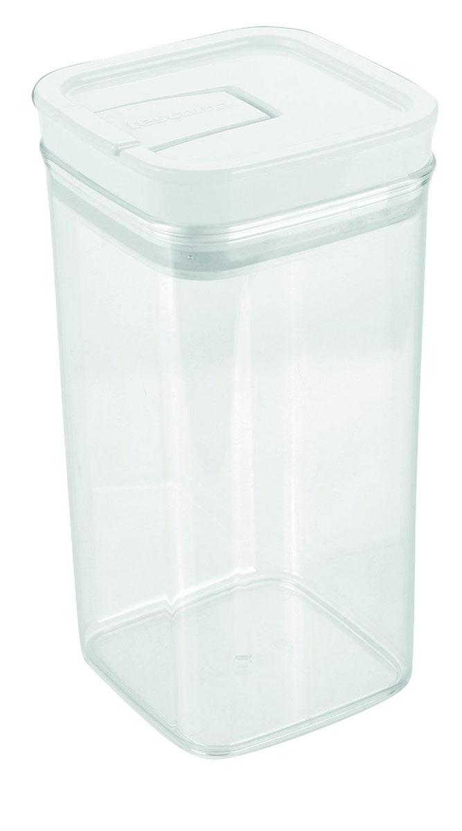 Контейнер пищевой Tescoma Airstop, 1,4 лI9230-TXКонтейнер для сыпучих продуктов Tescoma Airstop изготовлен из высококачественного пищевого пластика. Изделие прозрачное, что позволяет видеть содержимое, это очень удобно и практично. Специальная крышка с силиконовым уплотнителем надежно и герметично закрывается, защищая пищу от высыхания и появления плесени. Крышка контейнера снабжена складной ручкой, благодаря чему изделие с легкостью можно открыть и закрыть. Контейнер очень вместителен, в нем можно хранить макароны, крупы, чай и другие сыпучие продукты, а также печенье или конфеты. Контейнер Tescoma Airstop - идеальный вариант для поддержания порядка на кухне. Можно использовать для хранения в холодильнике и мыть в посудомоечной машине (без крышки).Размер контейнера (с учетом крышки): 10 х 10 х 20 см.