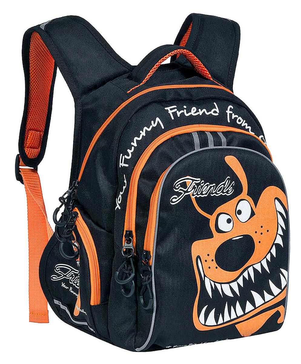 Grizzly Рюкзак детский цвет черный оранжевый730396Школьный рюкзак Grizzly - это красивый и удобный рюкзак, который подойдет всем, кто хочет разнообразить свои школьные будни. Рюкзак выполнен из плотного материала и оформлен оригинальным ярким принтом. Рюкзак имеет два основных отделения на молнии. Большое отделение содержит внутри накладной карман на молнии. Второе отделение имеет внутри открытый накладной кармашек и четыре отделения для канцелярских принадлежностей. На лицевой стороне рюкзака имеется большой накладной карман на молнии. Бегунки застежки-молнии дополнены удобными держателями с логотипом Grizzly. Рюкзак также оснащен удобной ручкой для переноски и светоотражающими элементами. По бокам рюкзак дополнен открытыми накладными карманами на резинках. Широкие регулируемые лямки и сетчатые мягкие вставки на спинке рюкзака предохранят мышцы спины ребенка от перенапряжения при длительном ношении. Многофункциональный школьный рюкзак станет незаменимым спутником вашего ребенка в походах за знаниями.