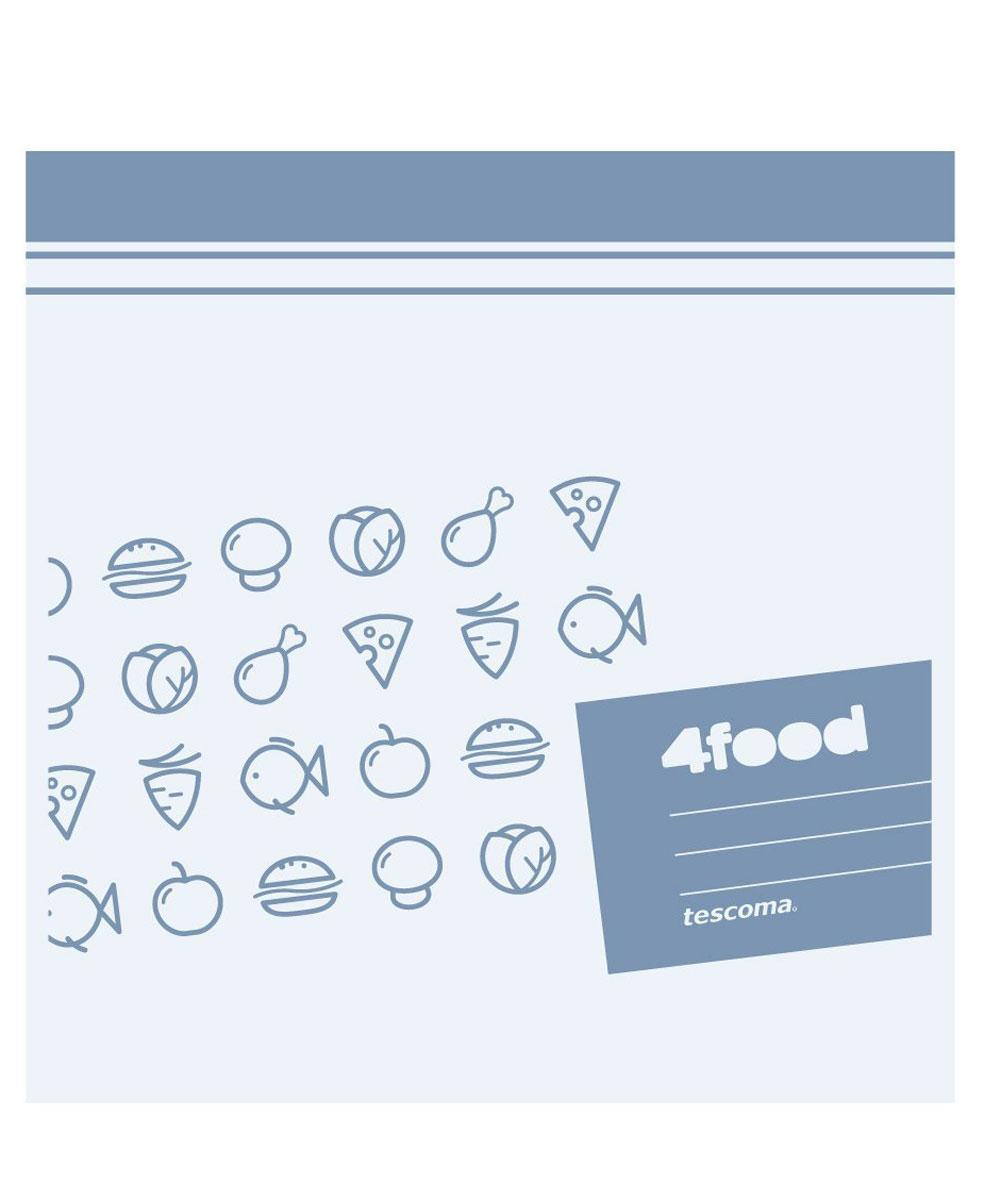 Пакеты для хранения продуктов Tescoma 4Food, 20 x 20см, 20штВетерок 2ГФПакеты Tescoma 4Food, изготовленные из высококачественного прочного пластика с двойным уплотнением, предназначены для хранения продуктов. На самих пакетах можно сделать надпись маркером, которая легко стирается влажной губкой. Специальная застежка делает пакеты абсолютно герметичными. Пакеты для хранения продуктов Tescoma 4Food - удобный и практичный вид современной упаковки, предназначенный для хранения продуктов. Подходит для использования холодильниках, морозильных камерах и в микроволновой печи. Размер пакетов: 20 х 20 см.