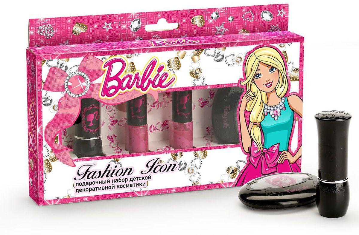 Barbie Набор декоративной косметики Икона Стиля1301210Гламурная красотка Барби блистает на каждой вечеринке!Теперь быть звездой, как Барби, может каждая девочка!Безупречный макияж подчеркнет твои достоинства и сделает образ незабываемым!Безопасная детская косметика не вредит нежной детской коже и минимизирует вероятность возникновения аллергических реакций.Состав набора: - Бальзам для губ детский «Candy Kiss» - Лак для ногтей детский «Love Perfect» на водной основе (смывается без ацетона)- Лак для ногтей детский «Love Fairy» на водной основе (смывается без ацетона)- Тени для век детские «Fairy Tale» (тона: 01-04)