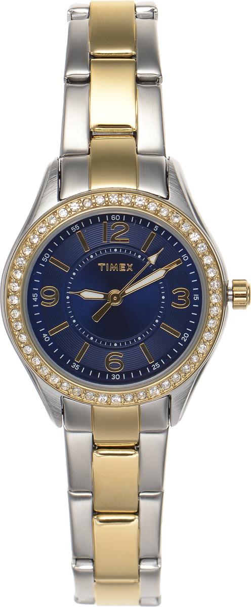 Часы наручные женские Timex Style Elevated, цвет: серебристый, синий. TW2P80000BM8434-58AEСтильные часы Timex Style Elevated - это модный и практичный аксессуар, который не только выгодно дополнит ваш наряд, но и будет незаменим для каждой современной девушки, ценящей свое время. Корпус выполнен из латуни, оснащен задней крышкой из нержавеющей стали и украшен сверкающими стразами Swarowski. Циферблат оформлен логотипом бренда. Корпус изделия имеет степень влагозащиты 3 Bar, оснащен кварцевым механизмом и дополнен устойчивым к царапинам минеральным стеклом. Элегантный ремешок выполнен из стали и дополнен раскладывающейся застежкой, которая позволяет с легкостью снимать и надевать изделие.Часы поставляются в фирменной упаковке.Часы Timex подчеркнут изящество ваших рук, а также ваш неповторимый стиль.