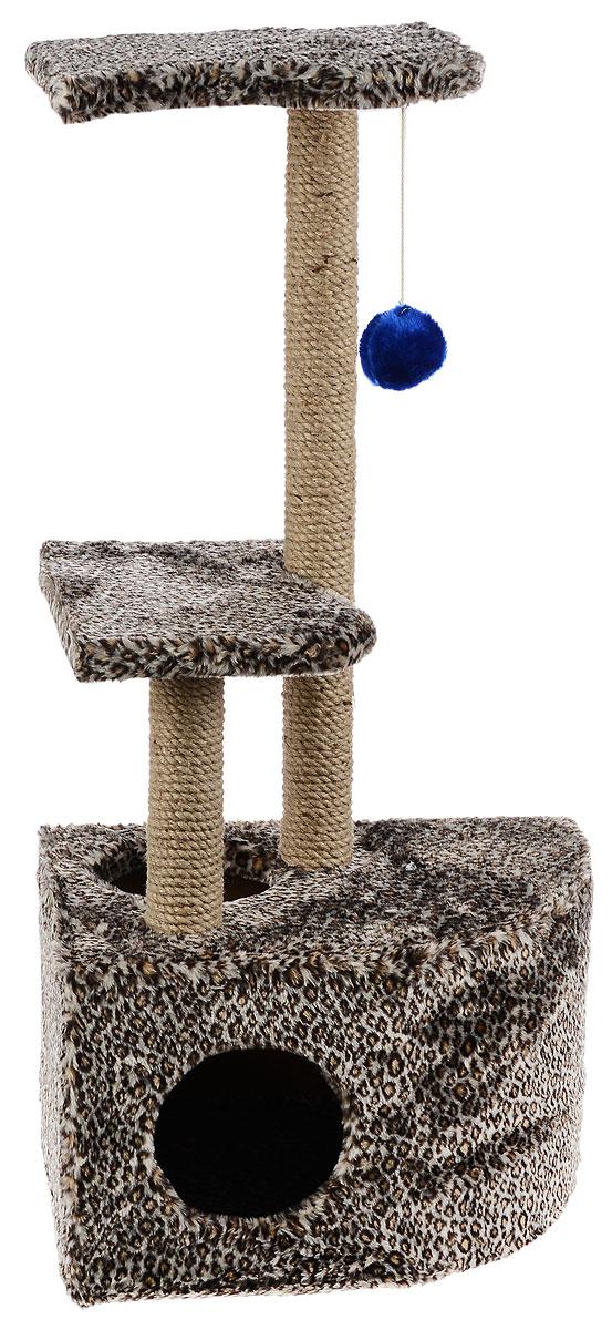 Домик-когтеточка ЗооМарк Мурзик, угловой, с полками, цвет: светло-коричневый, черный, бежевый, 51 х 37 х 99 см0120710Домик-когтеточка ЗооМарк Мурзик выполнен из высококачественного дерева и обтянут искусственным мехом. Изделие предназначено для кошек. Ваш домашний питомец будет с удовольствием точить когти о специальные столбики, изготовленные из джута. А отдохнуть он сможет либо на полках, либо в расположенном внизу домике.Общий размер: 51 х 37 х 99 см.Размер домика: 51 х 37 х 31 см.Размер полок: 36 х 26 см.