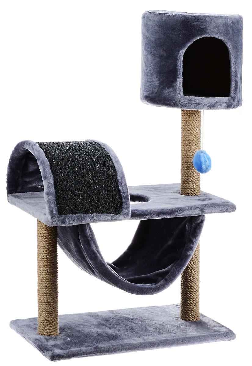 Игровой комплекс для кошек ЗооМарк Кузя, цвет: серый, бежевый, 69 х 37 х 102 см142_серыйИгровой комплекс для кошек ЗооМарк Кузя прекрасно подойдет для животного, которое длительное время остается одно дома. Обеспечивая уютное место для сна и отдыха, комплекс является отличной игровой площадкой для развлечения скучающего животного. Комплекс изготовлен из дерева и обтянут искусственным мехом. Когтеточка из ковролина на длительное время отвлечет вашу кошку от мягкой мебели и обоев в доме, а подвесная игрушка развлечет питомца. Комплекс имеет несколько ярусов и домик, в котором ваш питомец сможет отдохнуть после игр.Общий размер комплекса: 69 х 37 х 102 см.Размер домика: 31 х 31 х 29 см.