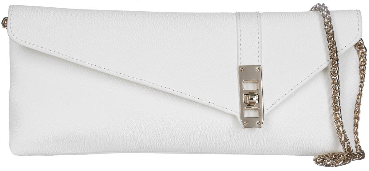 Сумка-клатч женская Leo Ventoni, цвет: белый. LV6044S76245Стильная женская сумка-клатч Leo Ventoni выполнена из натуральной кожи с фактурным тиснением.Изделие содержит одно отделение, которое закрывается клапаном на застежку-вертушку. Внутри расположен один врезной карман на молнии. Снаружи, на задней стороне сумки, расположен врезной карман на магнитной застежке. Сумка оснащена удобным плечевым ремнем, который выполнен в виде цепочки. В комплекте с изделием поставляется фирменный чехол для хранения.Оригинальный аксессуар позволит вам завершить образ и быть неотразимой.