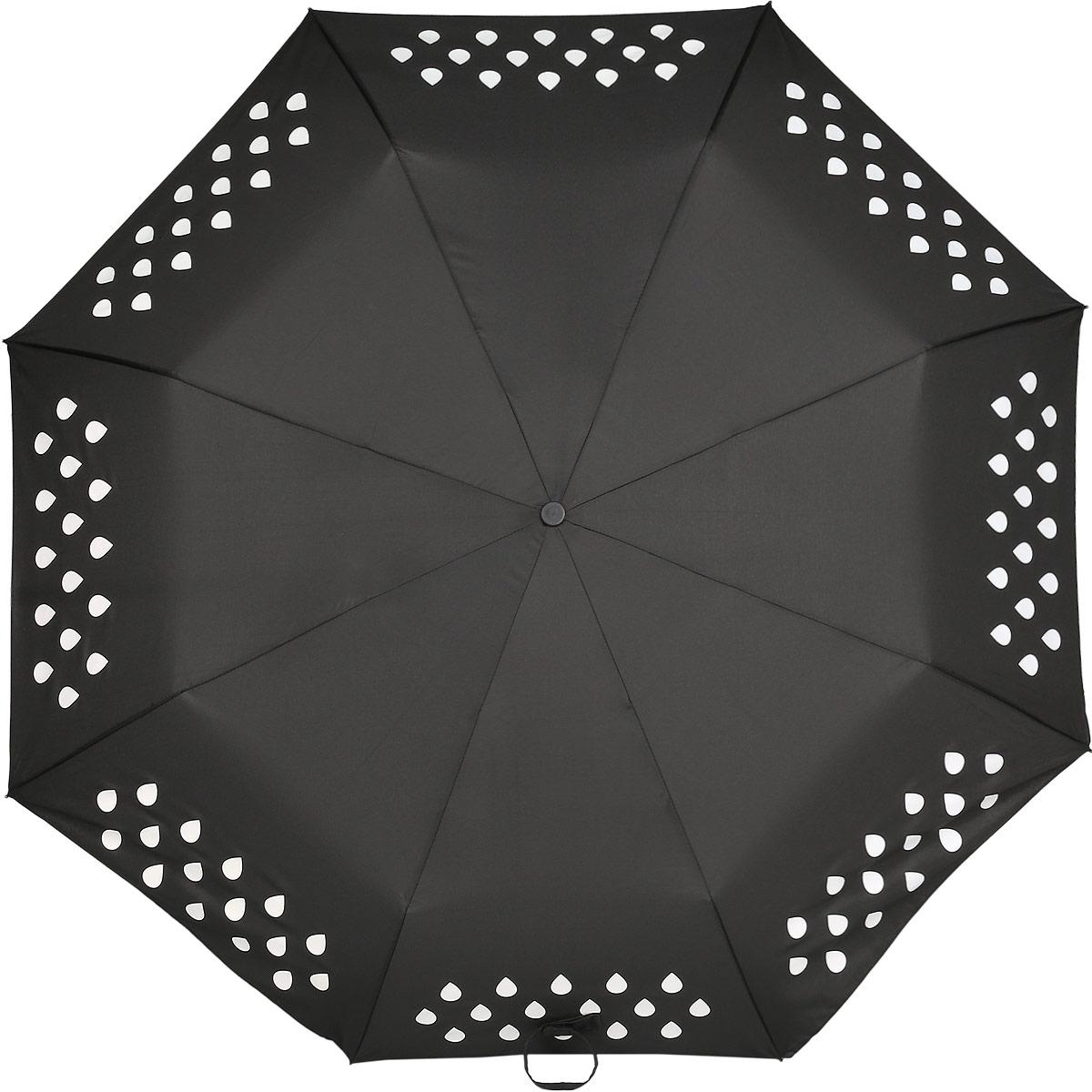 Зонт Reflective Suck UK, механический, 3 сложения, цвет: черный. SK UMBRELLA2REM12-CAM-GREENBLACKСтильный механический зонт Reflective Suck UK в 3 сложения с надежным куполом защит вас в ненастную погоду. Каркас зонта выполнен из 8 металлических спиц, оснащен удобной рукояткой из алюминия, которая дополнена петлей. При намокании зонта орнамент на поверхности купола меняет цвет.Купол зонта выполнен из прочного полиэстера.К зонту прилагается чехол.