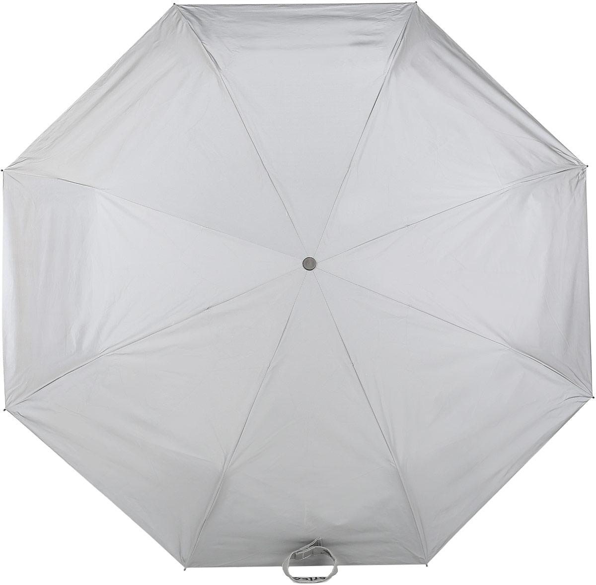 Зонт Reflective Suck UK, механический, 3 сложения, цвет: серый. SK UMBRELLAREF1REM12-GREYСтильный механический зонт Reflective Suck UK в 3 сложения с светоотражающим куполом из полиэстера защит вас в ненастную погоду. Каркас зонта выполнен из 8 металлических спиц, оснащен удобной рукояткой из алюминия, которая дополнена петлей.Купол зонта выполнен из прочного полиэстера.К зонту прилагается чехол.