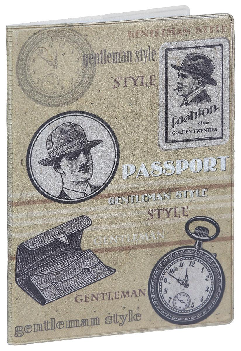 Обложка для паспорта Magic Home Джентльмен, цвет: бежевый. 4157141571Стильная обложка для паспорта Magic Home Джентльмен выполнена из поливинилхлорида, оформлена принтом с винтажным изображением.Внутри изделия расположены два прозрачных кармашка из ПВХ.Такая обложка станет отличным подарком для человека, который ценит качественные и практичные вещи.