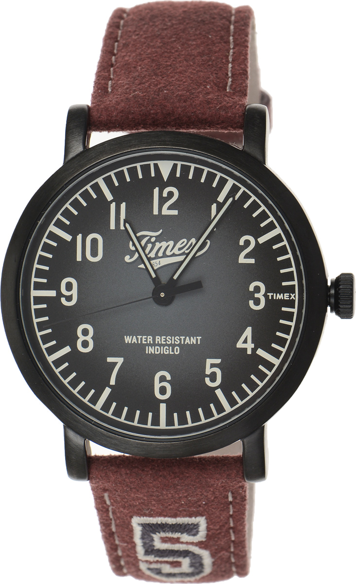 Часы наручные мужские Timex Originals, цвет: бордовый, черный. TW2P83200BM8434-58AEСтильные мужские часы Timex Originals - это модный и практичный аксессуар, который не только выгодно дополнит ваш образ, но и будет незаменим для каждого современного мужчины, ценящего свое время. Корпус выполнен из нержавеющей стали. Циферблат оснащен запатентованной электролюминесцентной подсветкой Indiglo и оформлен логотипом бренда.Корпус изделия имеет степень влагозащиты 3 Bar, оснащен кварцевым механизмом и дополнен устойчивым к царапинам минеральным стеклом. Прочный и устойчивый к выцветанию ремешок имеет покрытие из натуральной кожи и дополнен пряжкой, которая позволяет с легкостью снимать и надевать изделие.Часы поставляются в фирменной упаковке.Часы Timex подчеркнут ваш неповторимый стиль и дополнят любой наряд.