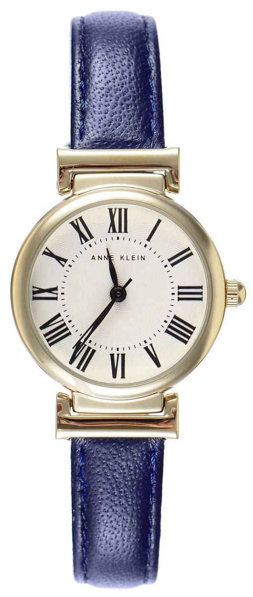 Часы наручные женские Anne Klein Daily, цвет: золотистый, синий. 2246BM8434-58AEЭлегантные женские часы Anne Klein Daily выполнены из металлического, оформлены сплава символикой бренда. Лаконичный корпус надежно защищен устойчивым к царапинам минеральным стеклом, а также имеет степень влагозащиты 3 Bar. Часы оснащены кварцевым механизмом, дополнены изящным ремешком из натуральной кожи. Ремешок застегивается на практичную пряжку.Часы поставляются в фирменной упаковке.Часы Anne Klein Daily подчеркнут изящество женской руки и отменное чувство стиля у их обладательницы.