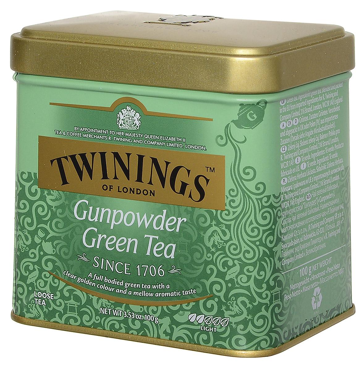 Twinings Gunpowder Green зеленый листовой чай, 100 г (ж/б)101246Twinings Gunpowder Green – крупнолистовой зеленый чай Ганпаудер, скрученный в форме пороха, имеет вид мелкой дроби или картечи. При заваривании получается душистый прозрачный напиток светло-золотистого цвета с мягким бархатистым вкусом.