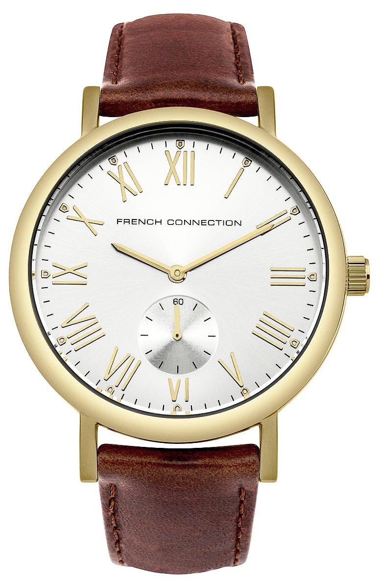 Часы наручные French Connection, цвет: золотистый, коричневый. FC1259TGEQW-M710DB-1A1Стильные часы French Connection выполнены из нержавеющей стали и минерального стекла. Циферблат оформлен символикой бренда.Корпус изделия имеет степень влагозащиты 3 Bar, оснащен кварцевым механизмом и дополнен устойчивым к царапинам минеральным стеклом. Ремешок выполнен из натуральной кожи и оснащен пряжкой, которая позволит с легкостью снимать и надевать изделие.Часы поставляются в фирменной упаковке.Часы French Connection классического дизайна прекрасно дополнят образ.