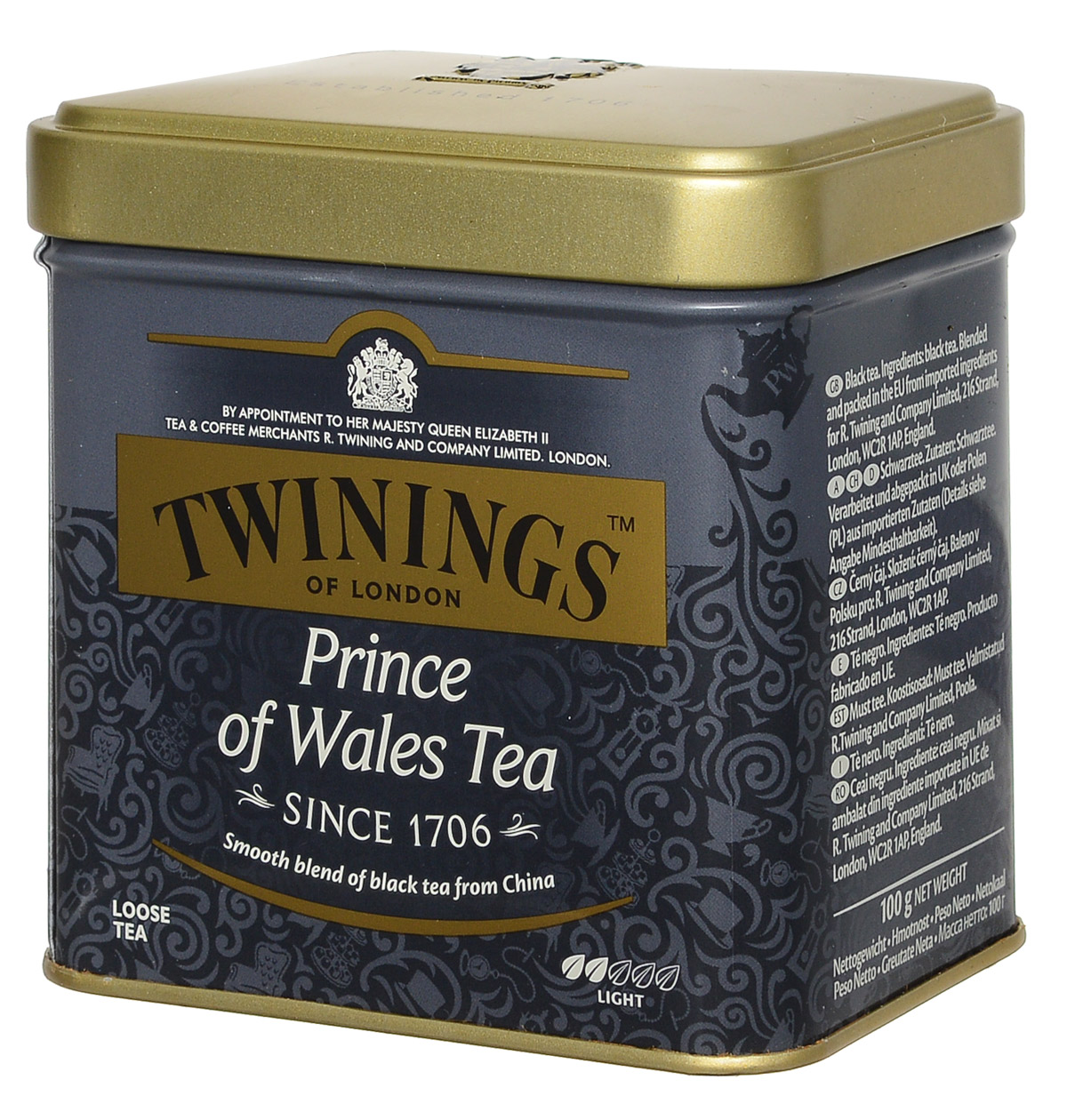 Twinings Prince Of Wales Tea черный листовой чай, 100 г (ж/б)71368-00Чай Twinings Prince Of Wales Tea был специально создан для Его Королевского Высочества Принца Уэльского в 1921 году. Это специальная смесь чая, тщательно отобранного из провинции Цзянси, Аньхой и Юньнань в Китае, где на большой высоте горные туманы защищают чайный куст от чрезмерного солнечного света, образуя идеальные условия для чайного листа и развития почек. Чай из этих провинций создает ароматную смесь, красно-коричневого цвета и имеет легкий, мягкий вкус и слегка древесный оттенок. Идеально подходит для прохладного осеннего дня или холодного зимнего вечера. Этот мягкий чай наполнит вас чувством обновления.