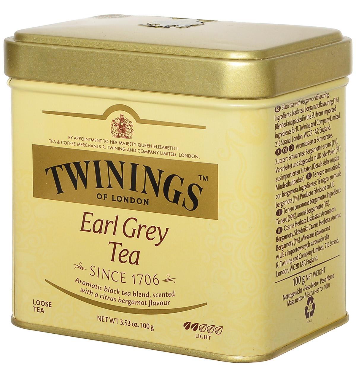 Twinings Earl Grey Tea черный ароматизированный листовой чай, 100 г (ж/б)101246Названный в честь британского премьер-министра второго Графа Грея, Twinings Earl Grey Tea является неотъемлемой частью традиционного английского чаепития. Насыщенный черный чай, ароматизированный натуральным маслом из кожуры бергамота, дает яркий настой со сладким ароматом и цитрусовым привкусом.