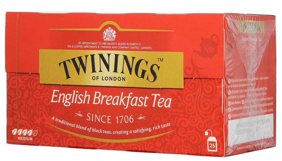 Twinings English Breakfast Tea черный чай в пакетиках, 25 шт101246Twinings English Breakfast- классическая смесь черных чаев с насыщенным и приятным вкусом.