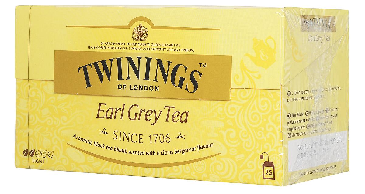 Twinings Earl Grey Tea черный ароматизированный чай в пакетиках, 25 шт0120710Twinings Earl Grey- ароматная смесь черного чая с цитрусовым вкусом бергамота.