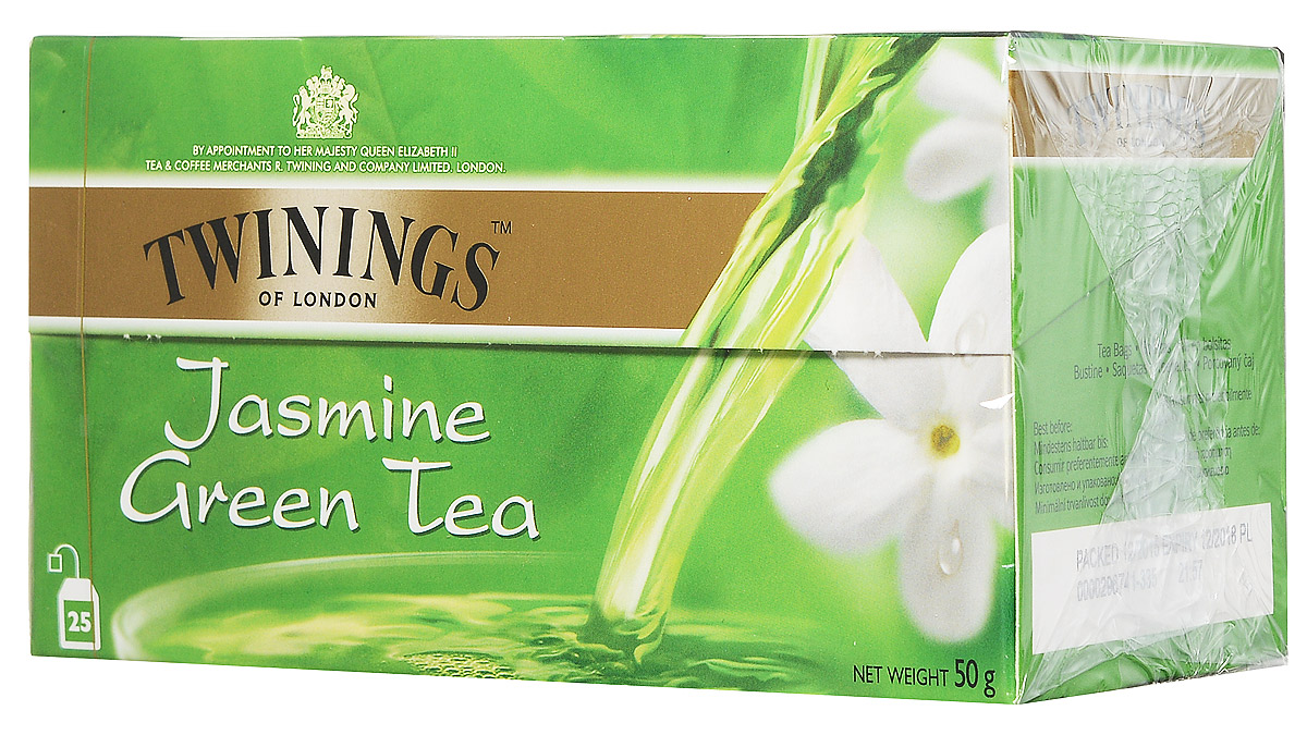 Twinings Green Tea & Jasmine зеленый чай с цветами жасмина в пакетиках, 25 шт 150g china tea new promotion organic jasmine flower tea green tea secret gift free shipping jasmine green tea