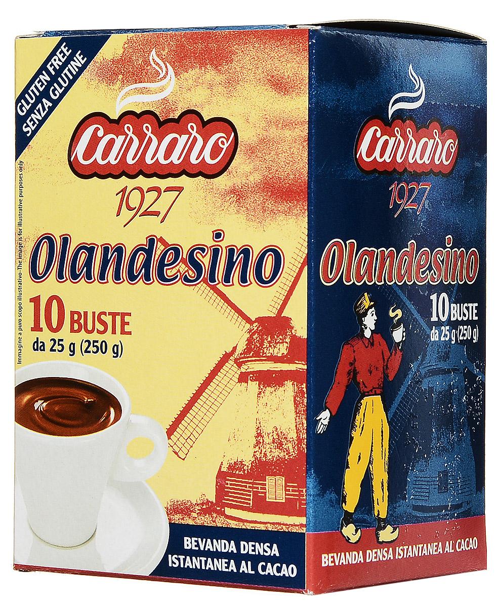 Carraro Olandesino растворимый шоколад, 10 пакетиков по 25 г0120710Быстрорастворимый шоколад Carraro Olandesino – это горячий шоколад, цветочный вкус которого ни с чем не перепутать. Чашка горячего шоколада – прекрасное наслаждение, особенно в холодную пору. Продукт расфасован в индивидуальные пакетики и удобно упакован в коробку.