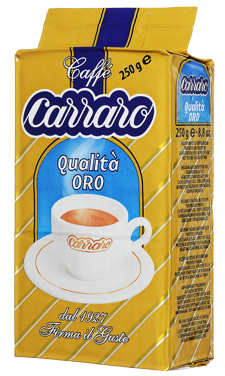 Carraro Qualita Oro кофе молотый, 250 г8000604001351Тончайший аромат и богатый вкус: Carraro Qualita Oro - кофе, созданный для тех, кто предпочитает нежные бархатистые оттенки. Эту смесь сортов Арабики и Робусты отличает интенсивный и довольно стойкий цветочный аромат.
