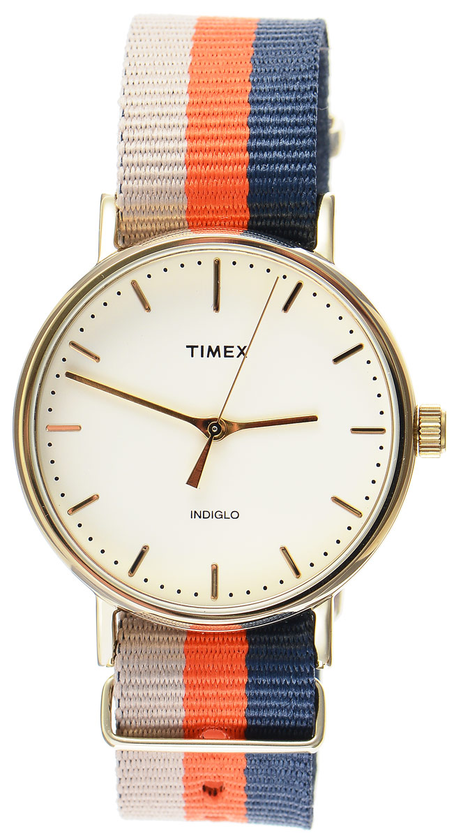 Часы наручные мужские Timex Weekender, цвет: бежевый, оранжевый, синий. TW2P91600BM8434-58AEСтильные мужские часы Timex Weekender - это модный и практичный аксессуар, который не только выгодно дополнит ваш образ, но и будет незаменим для каждого современного мужчины, ценящего свое время. Корпус с минеральным стеклом выполнен из латуни и оснащен задней крышкой из нержавеющей стали. Циферблат оснащен запатентованной электролюминесцентной подсветкой Indiglo и оформлен символикой бренда.Корпус изделия имеет степень влагозащиты 3 Bar, оснащен кварцевым механизмом и дополнен устойчивым к царапинам минеральным стеклом. Ремешок cо стильным принтом в полоску выполнен из нейлона и дополнен пряжкой, которая позволяет с легкостью снимать и надевать изделие.Часы поставляются в фирменной упаковке.Часы Timex подчеркнут ваш неповторимый стиль и дополнят любой наряд.