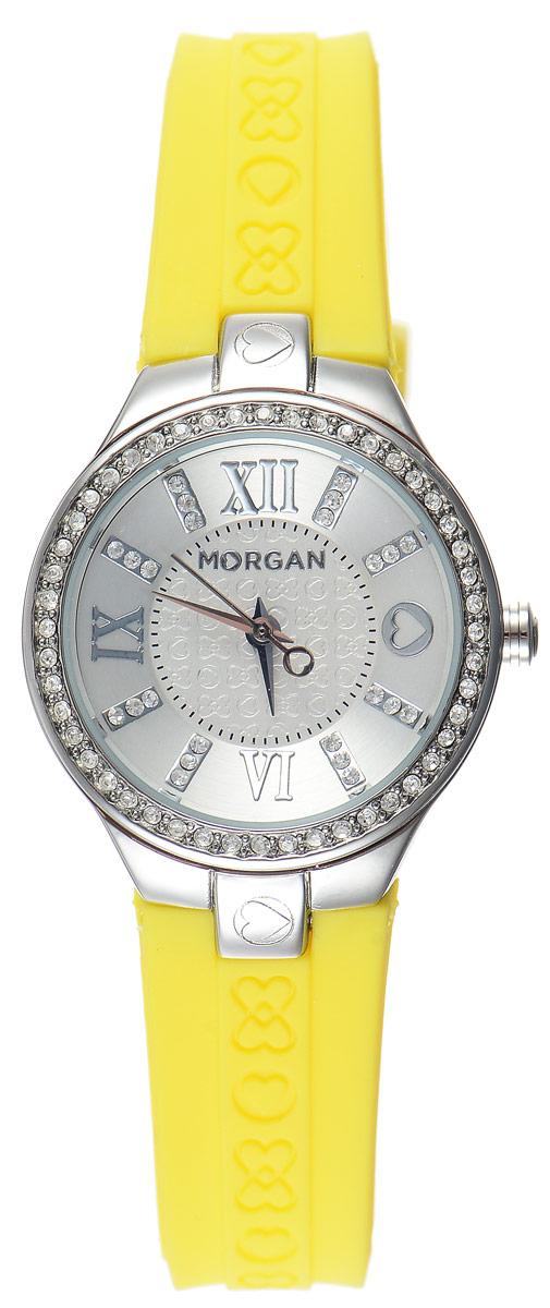 Часы наручные женские Morgan, цвет: стальной, желтый. M1138YBRBM8434-58AEОригинальные часы Morgan выполнены из стали, оформлены символикой бренда и инкрустированы чешскими кристаллами. Лаконичный корпус часов надежно защищен устойчивым к царапинам минеральным стеклом.Часы оснащены кварцевым механизмом, дополнены ремешком из силикона, который застегивается на практичную пряжку.Изделие поставляется в фирменной упаковке.Часы Morgan подчеркнут изящество женской руки и отменное чувство стиля у их обладательницы.