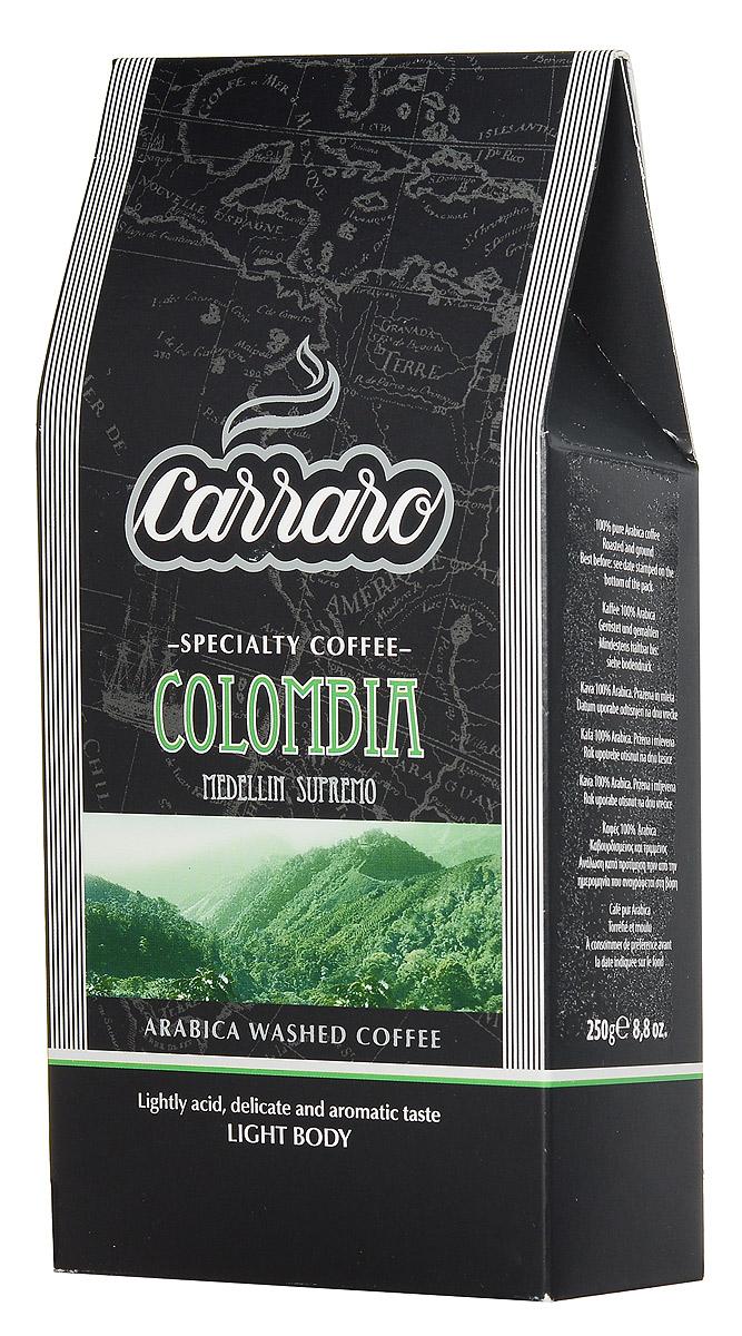 Carraro Colombia Arabica 100% кофе молотый, 250 г101246Колумбия является вторым по величине производителем арабики после Бразилии, но в этой стране продукт слаще и обычно определяется как Suave (Мягкий). Тщательно подобранные зерна Супремо, выращенные в районе Медельин, большие по размеру и плосковатые по форме, дают деликатно-сладковатый напиток Carraro Colombia Arabica с мягкой консистенцией и низкой кислотностью. Идеально подходит для употребления в любое время дня.