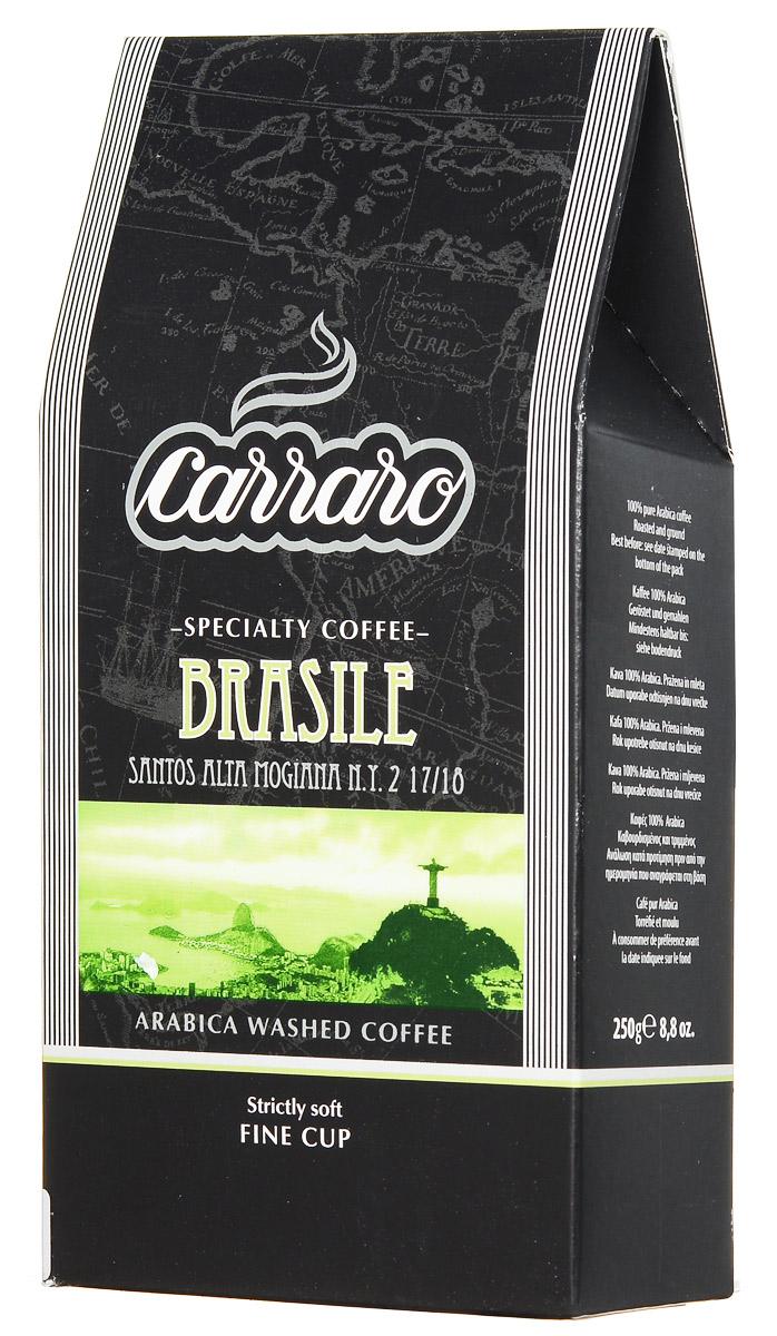 Carraro Brasile Arabica 100% кофе молотый, 250 г0120710Кофе Carraro Brasile выращивается в районе Альта Могиана штата Сан-Паулу на высоте 600 метров над уровнем моря. Постоянная забота производителя о соблюдении специальных правил выращивания, сбора и обработки урожая дала молотому кофе Бразилия звание самого мягкого кофе. Изысканная, но не чрезмерная сладость в каждой чашке, с оттенками ореха и ароматом поджаренного хлеба, делает его идеальным для употребления в любое время суток.