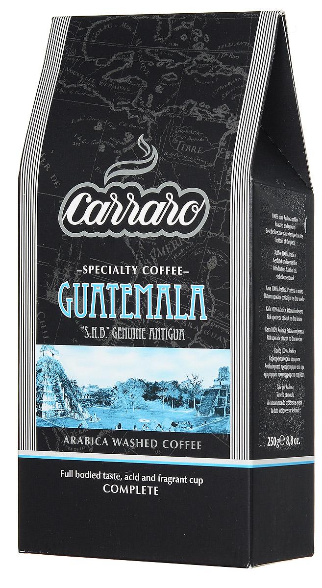 Carraro Guatemala Arabica 100% кофе молотый, 250 г0120710Самые известные сорта кофе из Гватемалы выращиваются в районе Антигуа на высотах от 1600 до 2000 метров над уровнем моря. Местные производители до сих пор используют традиционные в данной области способы выращивания, сбора и переработки кофейной ягоды. Результат - отличный кофе Carraro Guatemala Arabica с цветочным ароматом и легкими нотками альпийских трав. Шоколадная сладость, насыщенная консистенция с небольшой кислинкой. Отлично сочетается как со сладкими, так и обычными блюдами, равно как и подходит для американо.