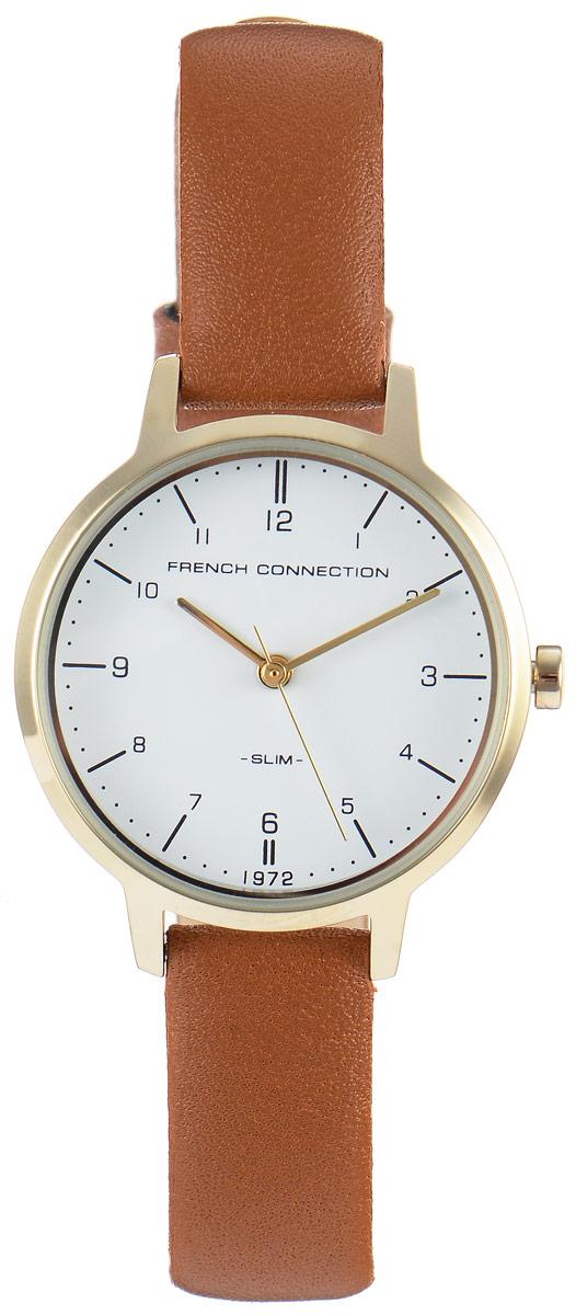 Часы наручные женские French Connection Slim Range, цвет: коричневый. FC1256TGBM8434-58AEСтильные часы French Connection Slim Range - это модный и практичный аксессуар, который не только выгодно дополнит ваш наряд, но и будет незаменим для каждой современной девушки, ценящей свое время. Корпус выполнен из нержавеющей стали. Контрастный циферблат оформлен логотипом бренда.Корпус изделия имеет степень влагозащиты 3 Bar, оснащен кварцевым механизмом и дополнен устойчивым к царапинам минеральным стеклом. Изысканный ремешок выполнен из натуральной кожи и дополнен пряжкой, которая позволяет с легкостью снимать и надевать изделие.Часы поставляются в фирменной упаковке.Часы French Connection подчеркнут изящество ваших рук и ваш неповторимый стиль и элегантность.