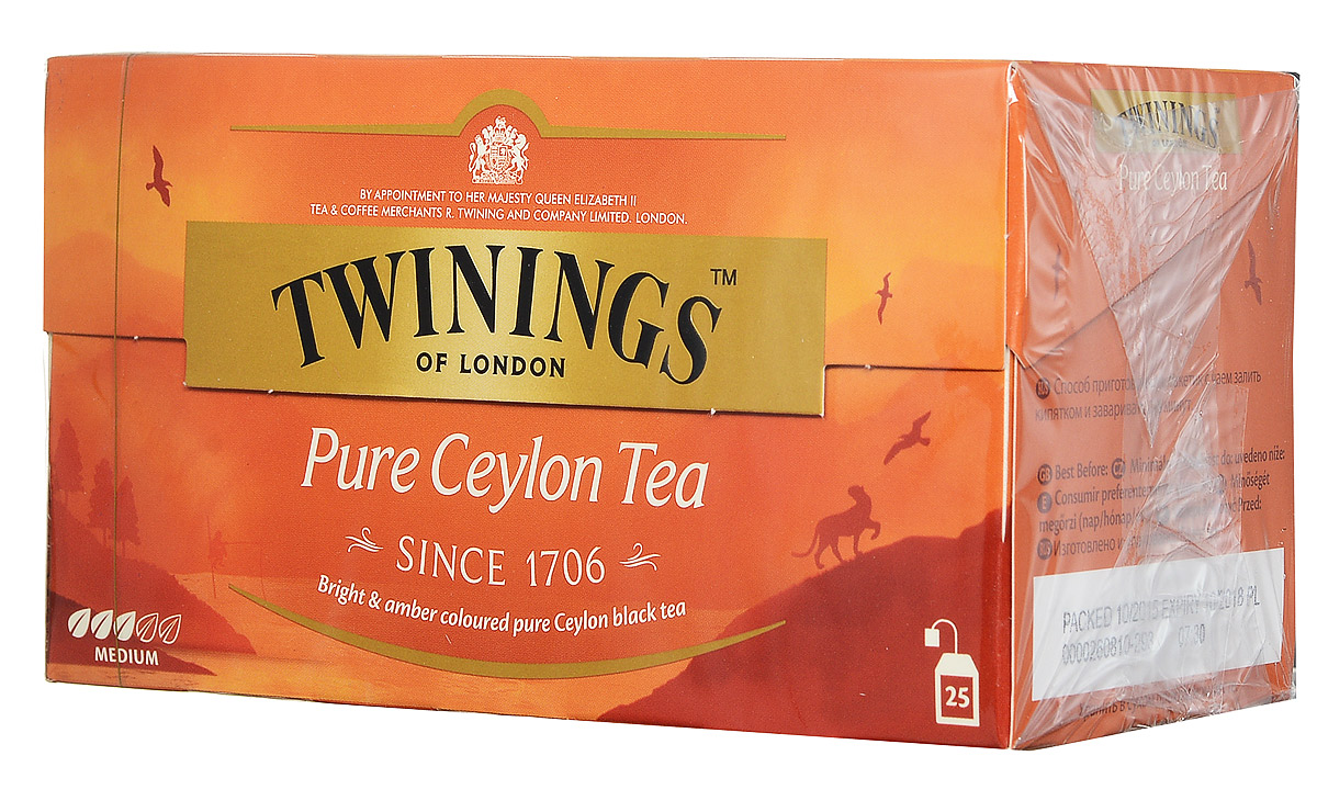 Twinings Pure Ceylon Tea черный чай в пакетиках, 25 шт070177260439Цейлонский чай Twinings Pure Ceylon Tea с ярким янтарным цветом и утонченным вкусом.