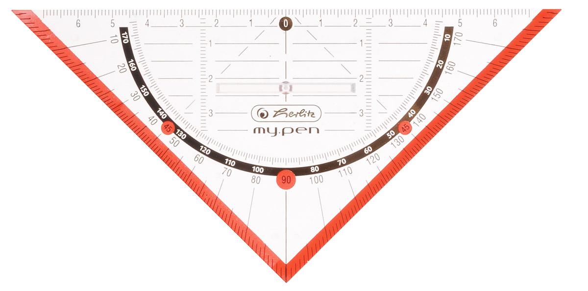 Herlitz Треугольник My Pen с держателем 16 см цвет красный174426Треугольник «Herlitz, выполненный прозрачного пластика, подходит как для правшей, так и для левшей. От середины треугольника идет разметка до семи сантиметров, как в левую сторону, так и в правую. В центре имеется удобный пластиковый держатель. Благодаря нанесенной угловой разметке, треугольник может быть предназначен для построения углов без помощи транспортира.Такой треугольник просто незаменимый атрибут для любого школьника или студента.