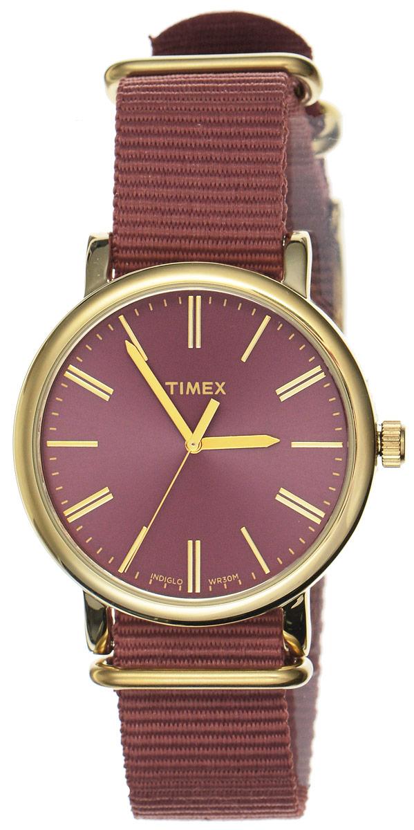 Часы наручные женские Timex Originals, цвет: коричнево-красный, золотой. TW2P78200BM8434-58AEСтильные часы Timex Originals выполнены из нержавеющей стали и минерального стекла. Циферблат оснащен запатентованной электролюминесцентной подсветкой INDIGLO и оформлен символикой бренда.Корпус изделия имеет степень влагозащиты 3 Bar, оснащен кварцевым механизмом и дополнен устойчивым к царапинам минеральным стеклом. Ремешок современного дизайна выполнен из нейлона и оснащен пряжкой, которая позволит с легкостью снимать и надевать изделие.Часы поставляются в фирменной упаковке.Часы Timex Originals подчеркнут изящество женской руки и отменное чувство стиля у их обладательницы.