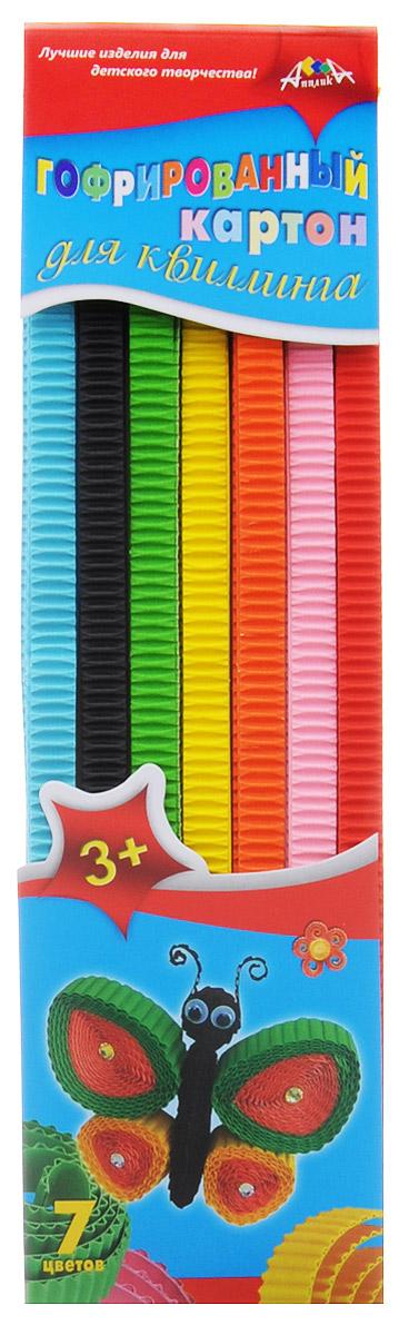 Апплика Гофрированный картон для квиллинга Бабочка32А4Bсп_132846Цветной гофрированный картон для квиллинга Апплика Бабочка позволит вашему ребенку создавать всевозможные аппликации и поделки. Набор состоит из полосок гофрированного картона 7 цветов: желтого, оранжевого, салатового, красного, розового, черного и голубого. В упаковке по 6 полосок каждого цвета. Создание поделок из цветного гофрированного картона поможет ребенку в развитии творческих способностей, увлечет и подарит ему праздник и хорошее настроение.