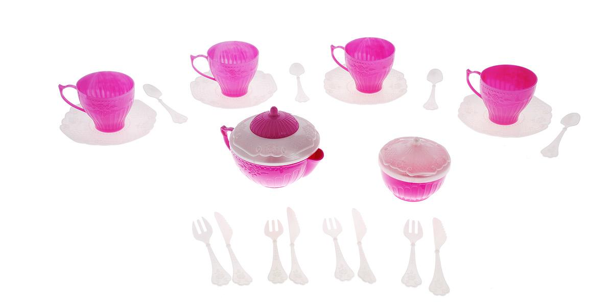 """Набор детской посуды """"Чайный сервиз: Волшебная Хозяюшка"""" - отличный подарок для вашей маленькой хозяюшки, которой так хочется быть самостоятельной! Он поможет малышке научиться накрывать на стол к обеду. В комплект набора входит все необходимое для веселого кукольного чаепития: 4 блюдца, 4 чашки, 4 ложки, 4 вилки, 4 ножа, кофейник с крышкой и сахарница с крышкой. Элементы набора выполнены из прочного пластика ярких цветов. Ваша малышка сможет часами играть с этим замечательным набором, выдумывая различные истории и разыгрывая сказочное чаепитие. Такие игры развивают мелкую моторику, социальные навыки и воображение, а также помогут ребенку познакомиться с различными цветами и формами. Порадуйте свою малышку таким замечательным подарком!"""