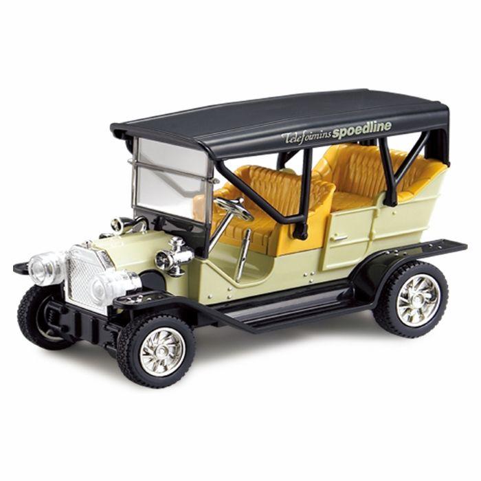 SPL OLDTIMER A321 – это миниатюрная классическая радиоуправляемая машинка с яркой и оригинальной окраской. Автомобиль обладает световыми эффектами, включающиеся при движении автомобиля. Автомобиль может двигаться вперед и назад, вправо и влево как настоящие автомобили. Пульт управления оборудован кнопкой «Акселератор». При ее нажатии максимальная скорость автомобиля увеличится. В комплекте: автомобиль пульт управления