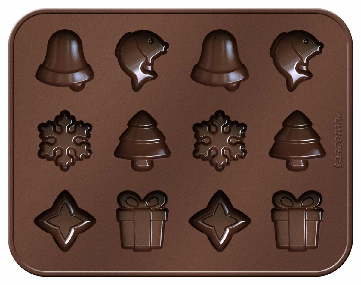 Формочки Tescoma Delica Choco Рождественские мотивы, для шоколадаFS-91909Формочки Tescoma Delica Choco Рождественские мотивы отлично подходят для приготовления оригинальных шоколадных конфет и многих других деликатесов в домашних условиях и профессиональной гастрономии. Сделаны из высококачественного эластичного и термоустойчивого силикона, готовый шоколад не липнет и легко вынимается.