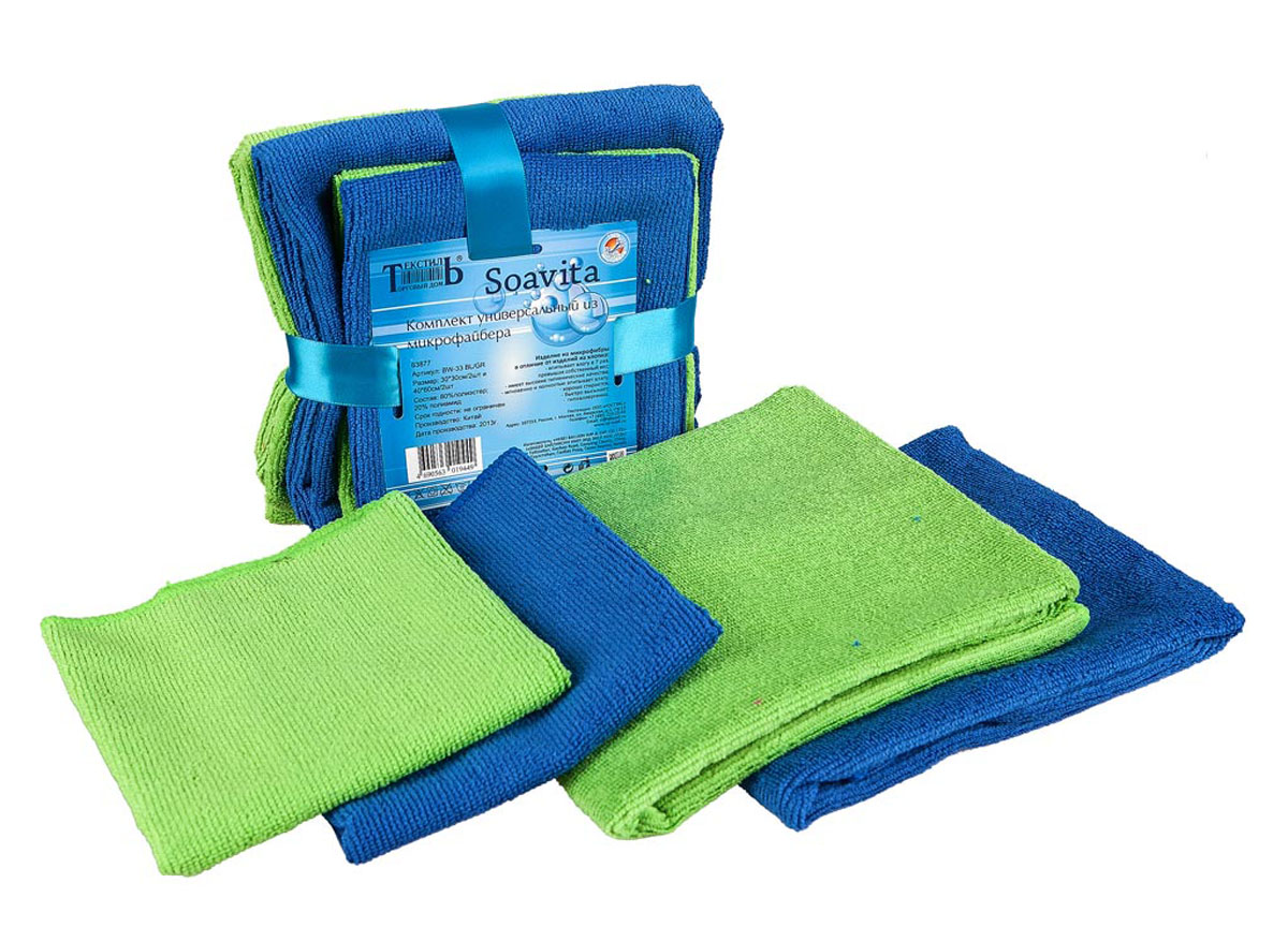 Набор кухонных полотенец и салфеток Soavita, цвет: синий, зеленый, 4 штVT-1520(SR)Набор Soavita состоит из двух кухонных полотенец и двух салфеток, выполненных из высококачественного микрофайбера (80% полиэстер, 20% полиамид). Изделия отлично впитывают влагу, гигиеничны, быстро сохнут, не прихотливы в уходе. Предназначены для использования на кухне и в столовой.Набор Soavita - отличное приобретение для каждой хозяйки.Комплектация: 4 шт