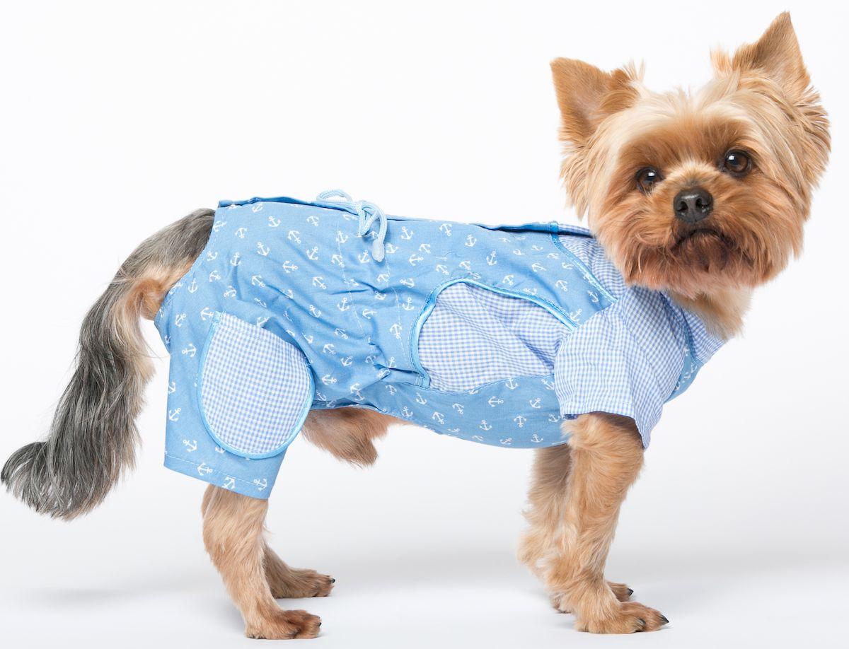 Комбинезон для собак Yoriki Юнга, для мальчика. Размер МКк-1024Хлопковый комбинезон для собак Yoriki Юнга отлично защитит вашего питомца в летний день от пыли и насекомых. Застегивается комбинезон на спине на кнопки и дополнительно на пояснице затягивается шнурком. Благодаря такому комбинезону вашему питомцу будет комфортно наслаждаться прогулкой.Обхват шеи: 23-28 см.Длина по спинке: 25 см.Объем груди: 35-42 см.