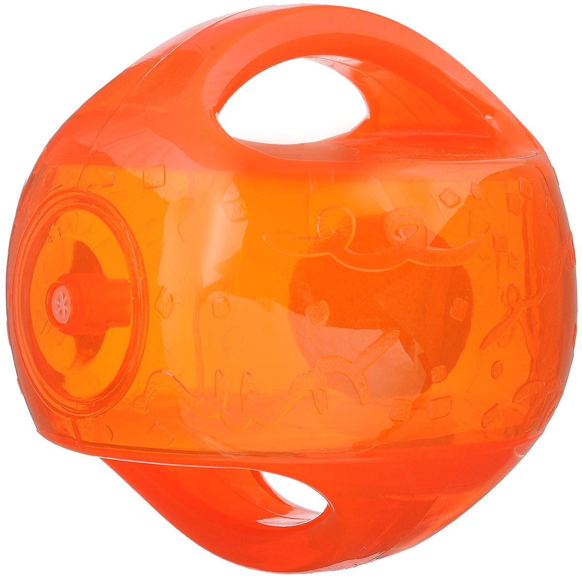 Игрушка для собак Kong Мячик, с пищалкой, цвет: оранжевый. 12 х 12 х 12 смTMB2E_прозрачный, оранжевыйИгрушка для собак Kong Мячик, выполненная извысококачественного каучука, представляет собой мяч 2 в 1.Теннисный мяч, расположенный внутри, гремит и будетпривлекать внимание вашего питомца, побуждая достать его.Просто потрясите игрушку. Удобные ручки служат дляподнятия. Также изделие оснащено пищалкой.С такой игрушкой вы сможете играть в захватывающие иактивные игры с вашей собакой. Она прекрасно подходит дляживотных среднего и крупного размера, с сильными челюстямии для использования в качестве дрессировочного предмета.