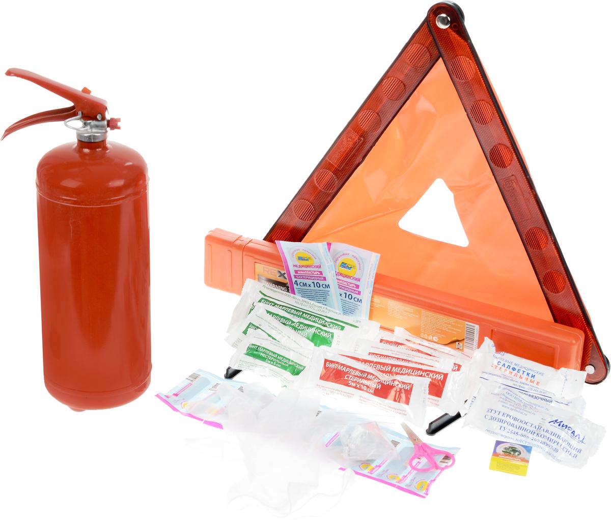 Набор аварийный REXXON Техосмотр Standard 298291124Состав: Сумка для хранения (водонепроницаемая)огнетушитель ОП-2Аптечка в Zip-пакете по ПриказуЗнак аварийной остановки