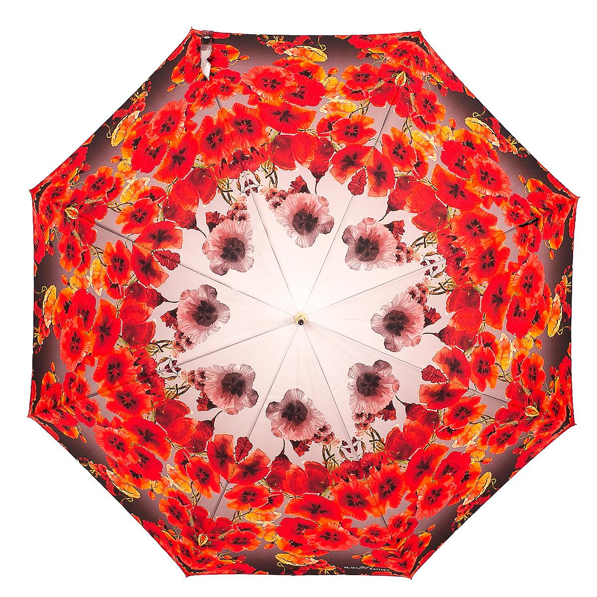 Зонт-трость женский Slava Zaitsev, механика, цвет: красный, молочный. 0458B035000M/18075/3900NОригинальный зонт-трость Slava Zaitsev надежно защитит вас от непогоды. Купол, выполненный из высококачественного полиэстера, который не пропускает воду, оформлен оригинальным принтом. Каркас зонта и спицы выполнены из высококачественного металла. Зонт имеет механический тип сложения: открывается и закрывается вручную до характерного щелчка. Удобная ручка выполнена из пластика.