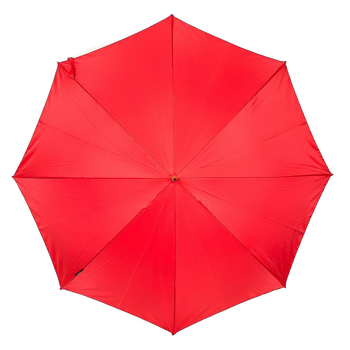 Зонт-трость женский Slava Zaitsev, механика, цвет: красный. 051CX1516-50-10Оригинальный зонт-трость Slava Zaitsev надежно защитит вас от непогоды. Купол выполнен из высококачественного полиэстера, который не пропускает воду. Каркас зонта и спицы выполнены из высококачественного металла. Зонт имеет механический тип сложения: открывается и закрывается вручную до характерного щелчка. Удобная ручка выполнена из пластика.